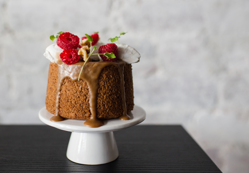 Banana Butterscotch - Fresh banana chiffon cake, with coconut butterscotch drip, fresh raspberry and vegan coconut creme.