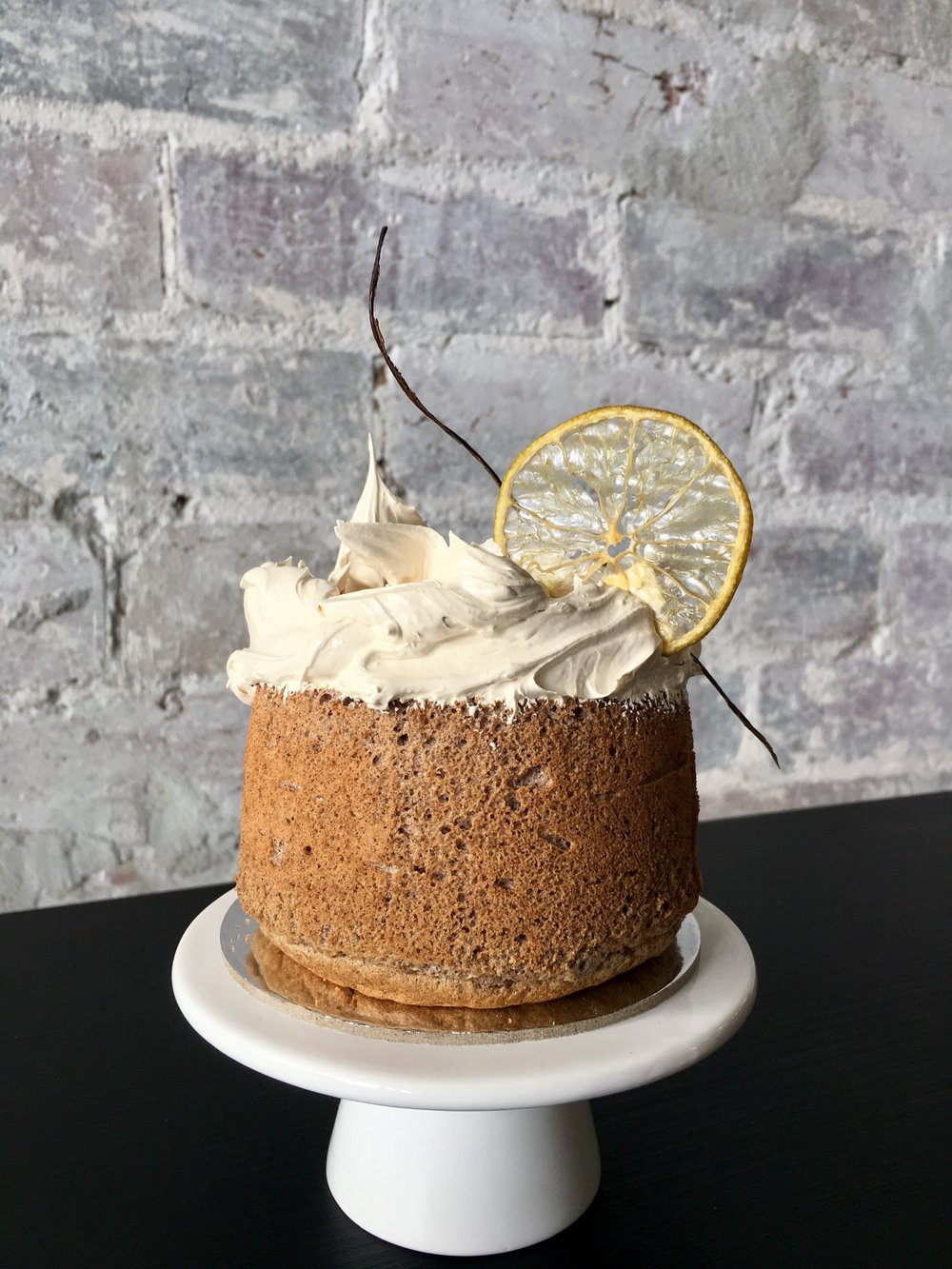 Citrus Meringue Chiffon - Fluffy lemon chiffon cake, with pillowy coconut sugar Italian meringue. Centre filled with luscious lemon curd.