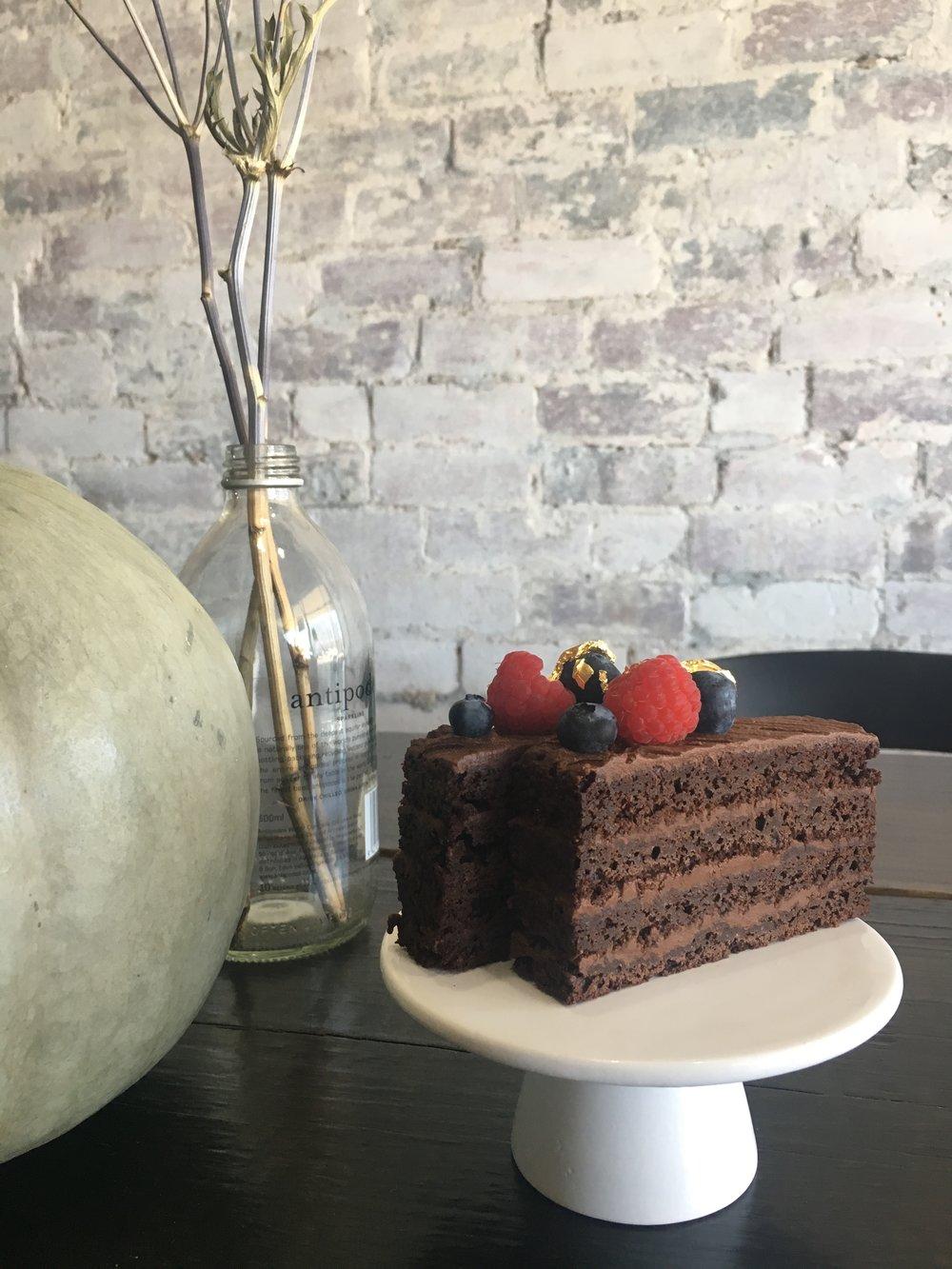 Vegan Chocolate Mud - Simple yet elegant mud cake, with fresh berries and vegan ganache.