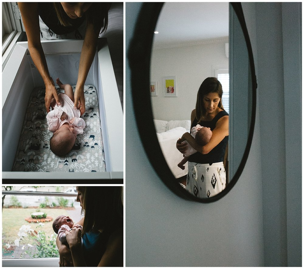 Brunswick family photography - family at home holding baby near window