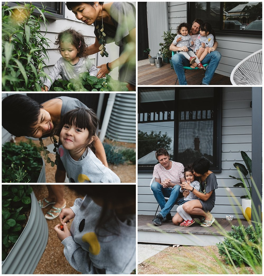 Highett family in their garden, lifestyle and raw emotions in photogrpahy