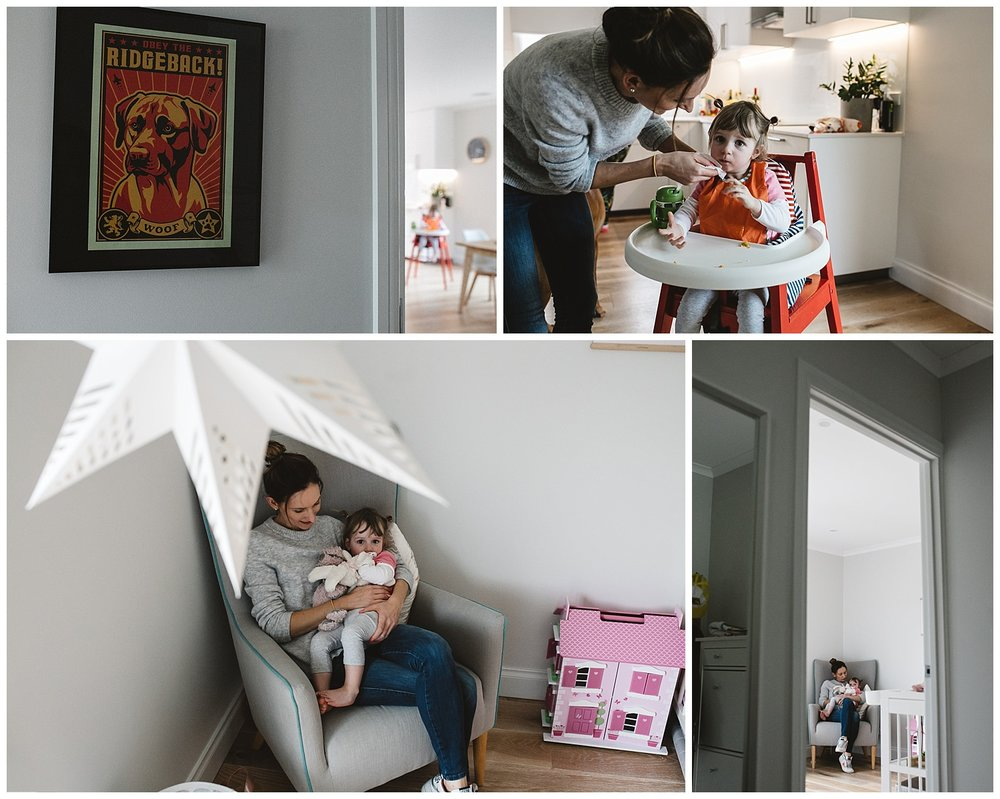 lifestyle inner city richmond family, toddler reading a book with mum