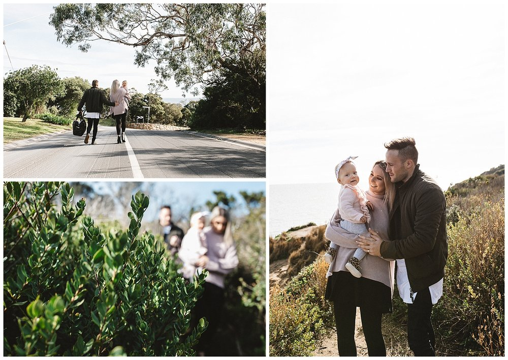 Rosebud family exploring the cliffs during a lifestyle photography session