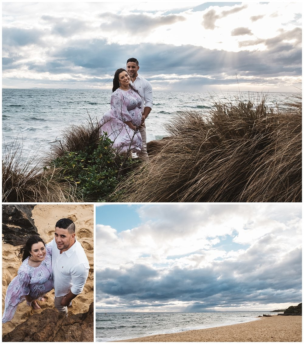 Maternity photos taken in Carrum beach and lifestyle family sessions