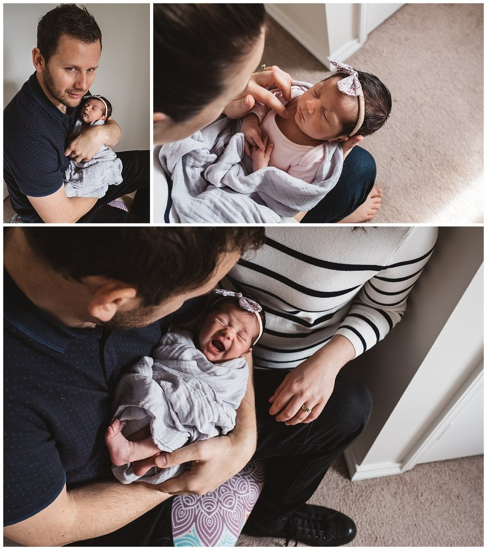 Ormond lifestyle photography, crying baby with parents holding her