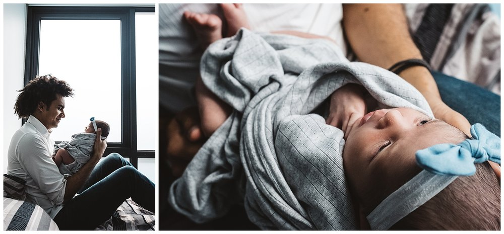 Malvern east family photos and newborn babies in Prahran. Father holding newborn baby girl in Natural light