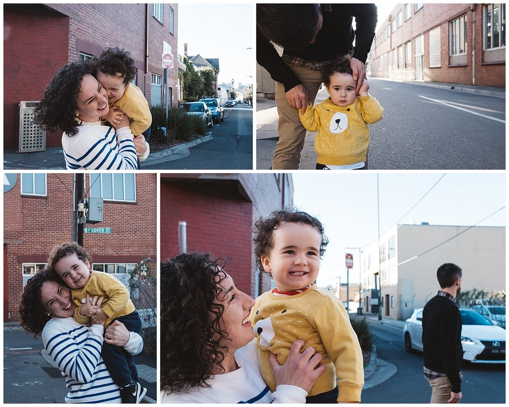toddler photographer and Malvern east families having fun in the street