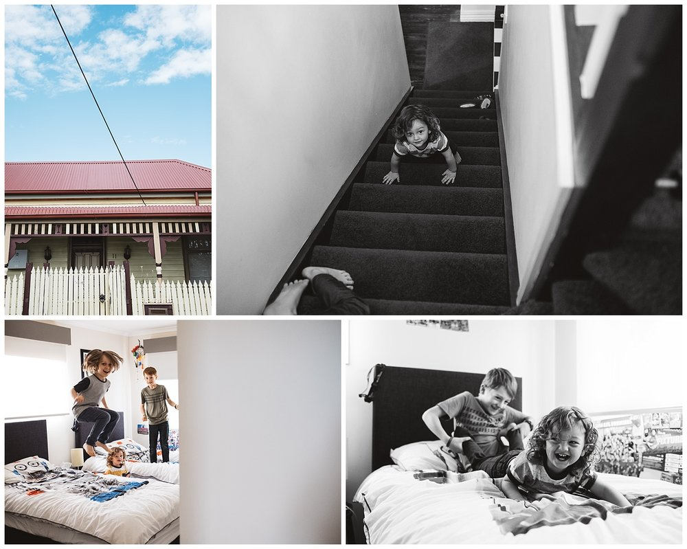 Port Melbourne family having fun at home