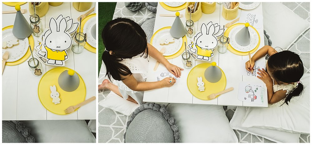 Miffy books available through  simple.form  | Grey cushions from  Closely Knit  |   silverlinings_hire  White low picnic table