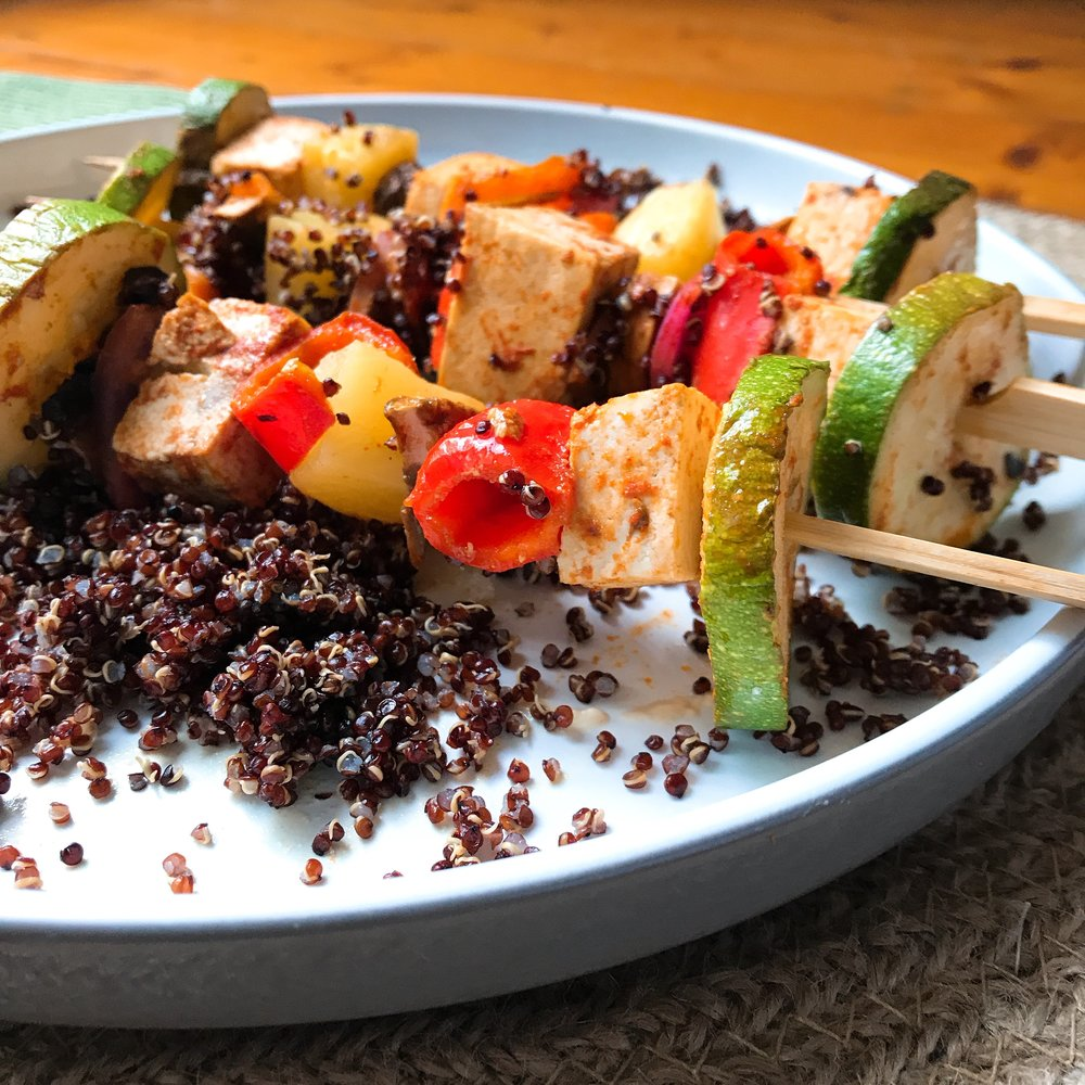 Tofu & vege skewers on black rice