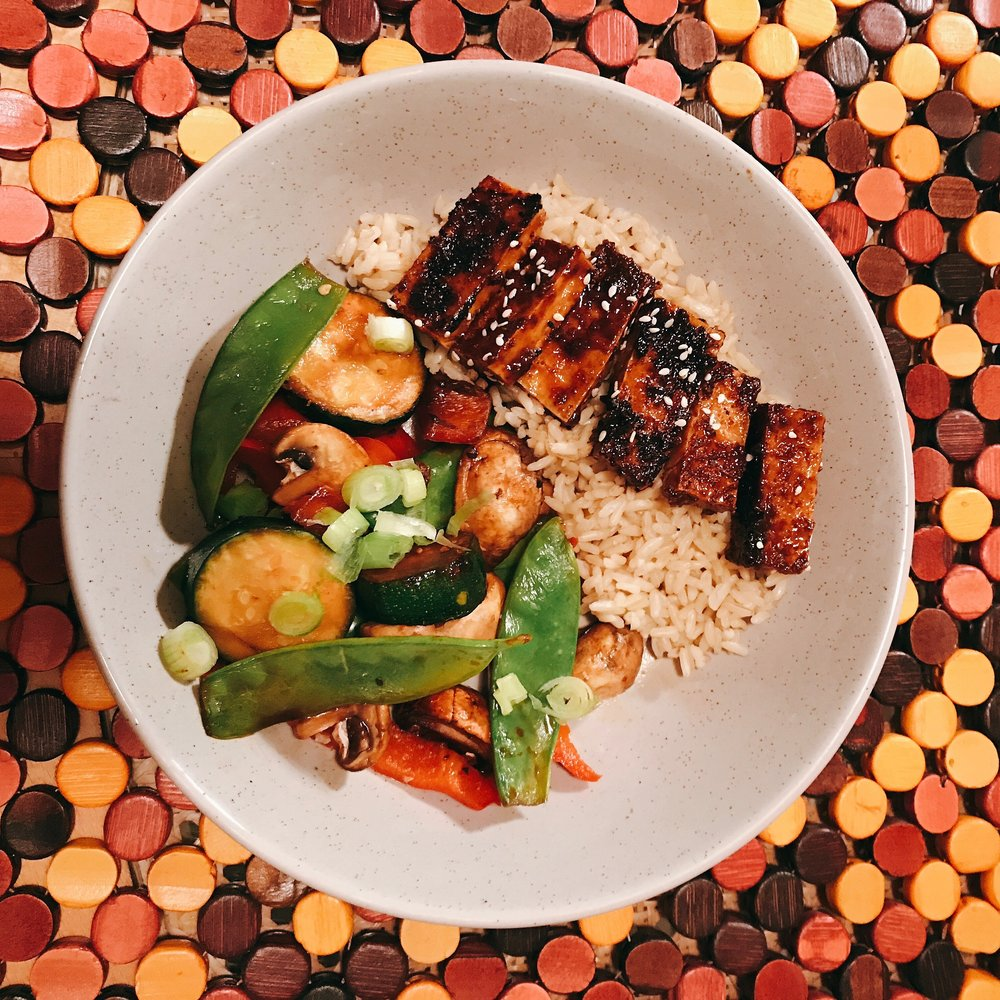 Crispy tofu and stirfry veges