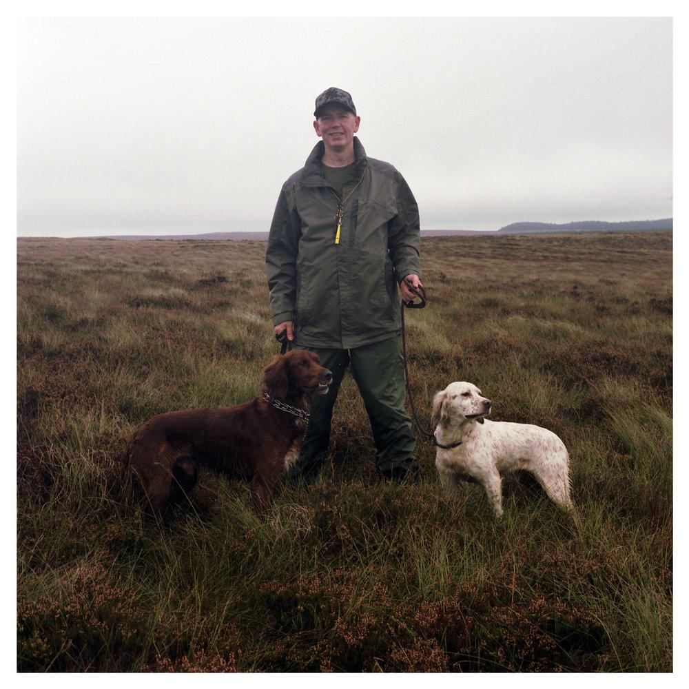 John Martin with Irish Red Setter - Mossy Abe, & English Setter - Sally.