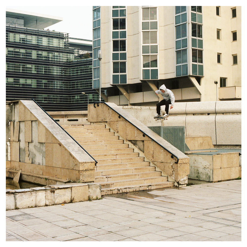 Jonny McConkey no run up ollie into bank - Bordeaux.  Published in issue 2 of Florecast Mag.