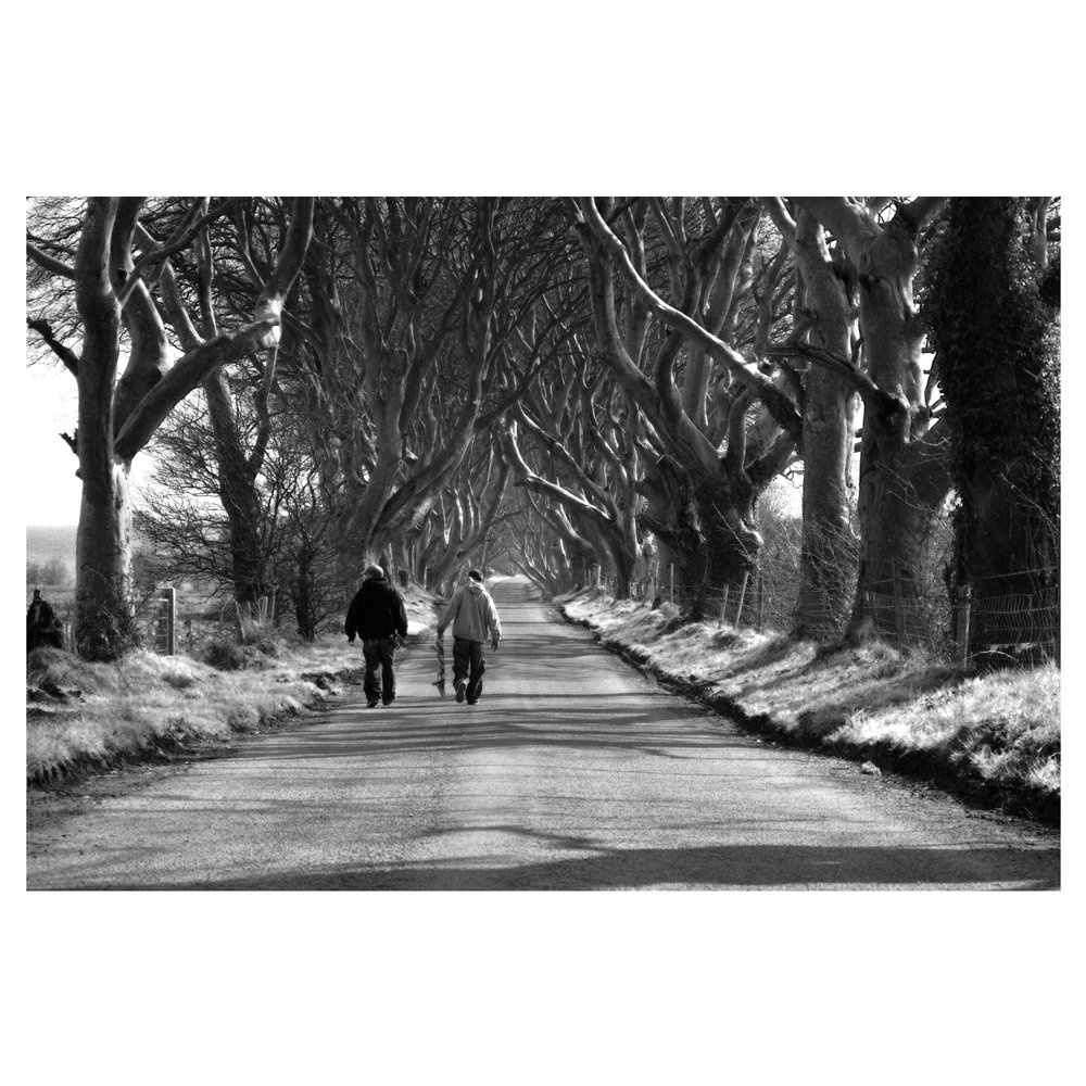 Slainé Brown and Seamy Maxwell - Dark Hedges.