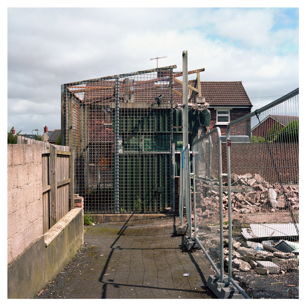 An intimidating PSNI Sangar is all the remains of a PSNI station in North Belfast.