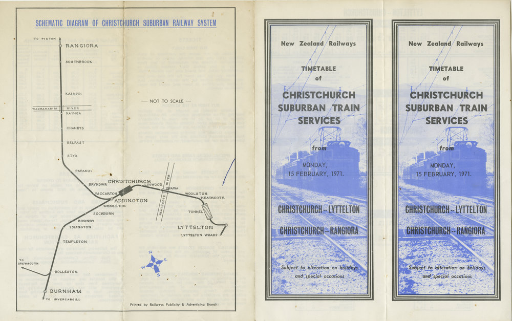 christchurch suburban timetables - hocken collections
