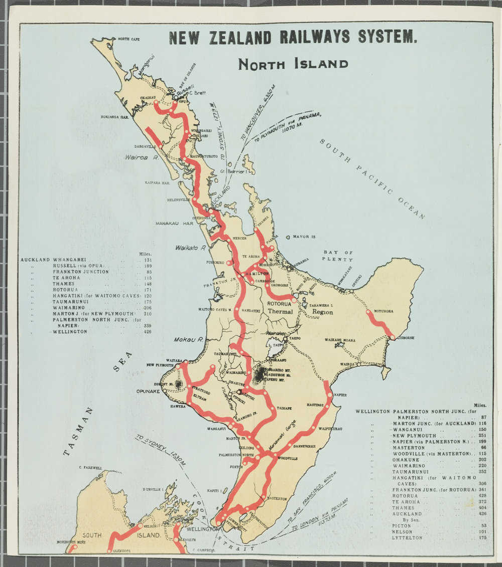 North Island rail network nearing completion 1930s - note the lines to places like Foxton - Hocken Collections