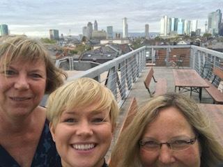 With Julia & Cordelia, my German publishers on the Fischer rooftop in Frankfurt