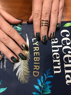 "A reader in Braunschweig ""Verena"" painted her nails to match Lyrebird cover."