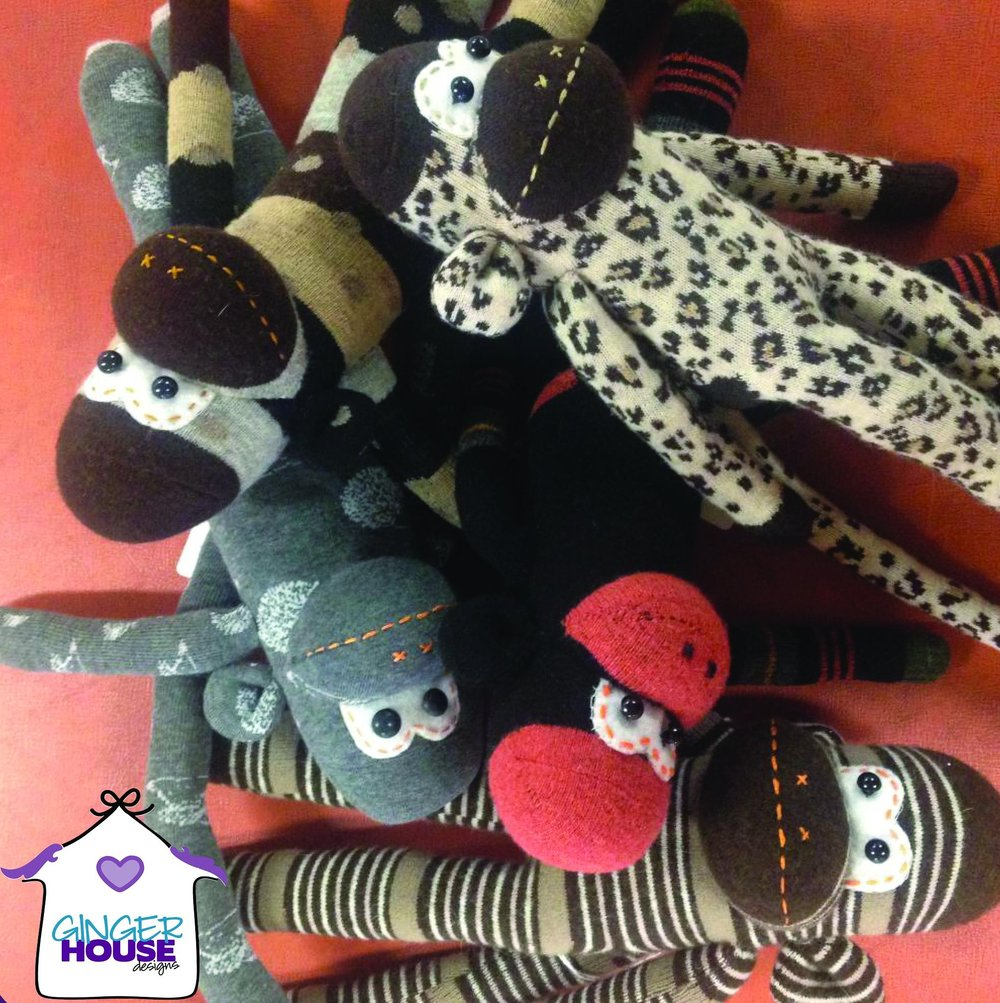 GINGER HOUSE DESIGNS   Handmade creations to cuddle and inspire imaginary play.  Knit baby blankets and gifts • Sock monkeys • Tooth fairy pillows • Tea party aprons • and much more