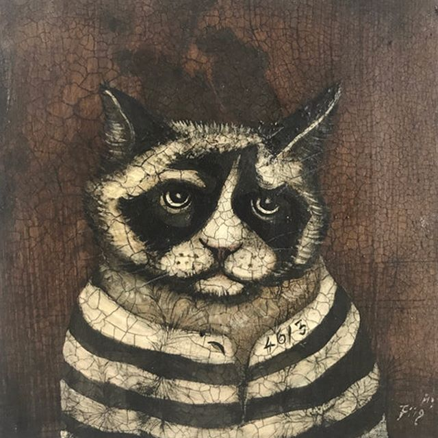Honored to showcase the work of famous Norwegian fine artist @artistrafdal #catpainting #fjord #norwegianartist #bostonartists #cat #jailcat #norwayArt