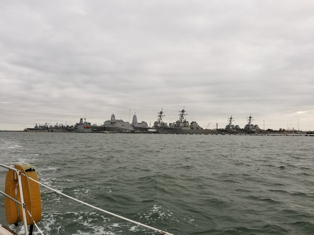 The Naval base at Norfolk, VA.