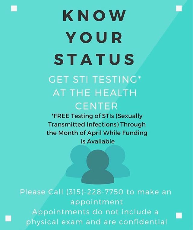 Kicking off the month of April, we are excited to offer free STI testing while funding lasts to the student body, sponsored by SGA, Shaw Wellness, and the Student Health Center. This is your chance to get informed about your status to make a happy and healthy campus for everyone. Call the health center at 315-228-7750 to make an appointment!