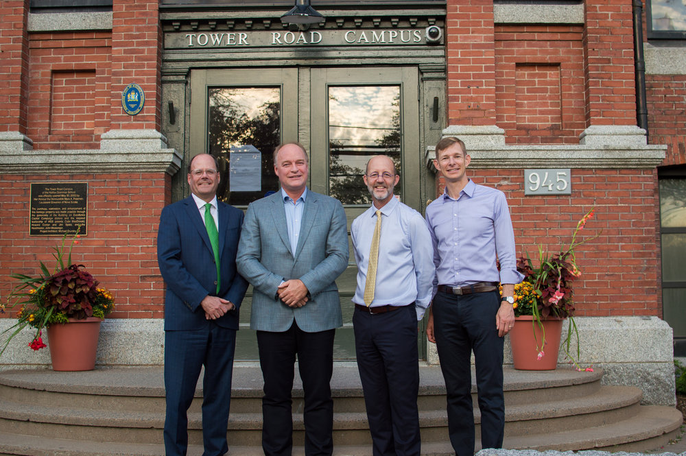 Photo (from left): Halifax Grammar School Engaging Excellence Capital Campaign co-chairs Doug Reid and Scott Armour McCrea, Headmaster Steven Laffoley, and Board Chair David Wilson following the launch of the public phase of the campaign. (credit: Halifax Grammar School)
