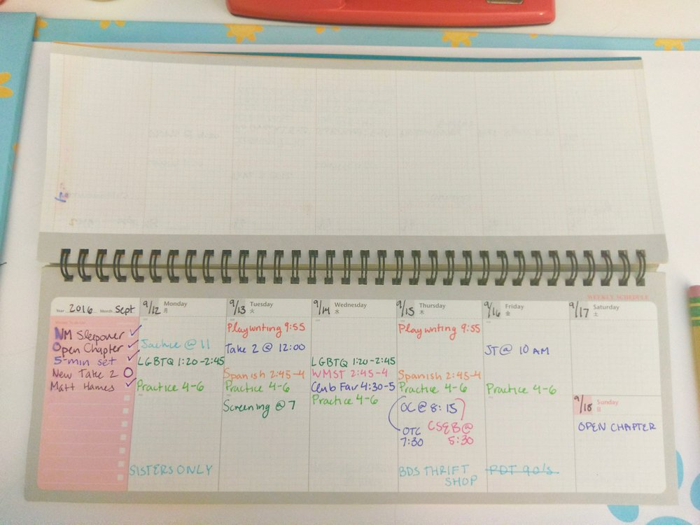 Here's an example of a fairly busy week I had my second week of using the planner. You can also see that I would also use my  Staedtler Triplus Fineliners  to color-code my classes and activities.