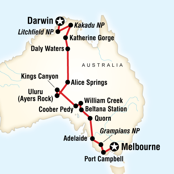 Australia South to North Melbourne to Darwin - G Adventures