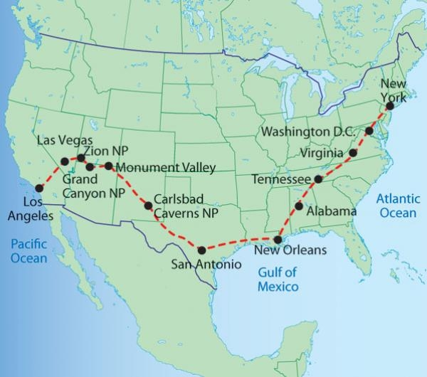 Camping Across USA - DURATION: 21 Days/20 NightsGROUP SIZE: Max 13DEPARTURE CITY: Los AngelesENDS IN:New York AreaACCOMMODATION: Camping