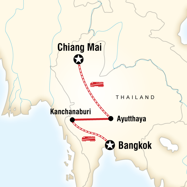 Bangkok to Chiang Mai Express - 7 DaysExplore magnificent temples and palaces, sleep in a floating rafthouse, learn about the somber history of Kanchanaburi.