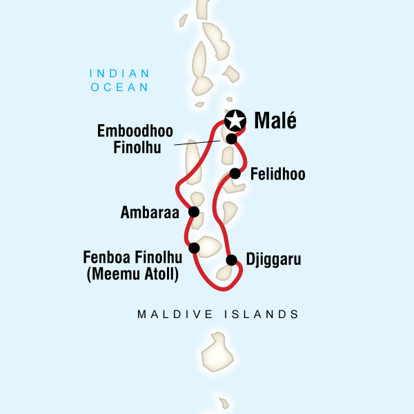 Maldives Dhoni Cruise - 7 DaysCruise through some of the world's most beautiful islands, uncover isolated beaches, explore small fishing villages, swim and snorkel the vibrant coral reefs of the Indian Ocean, savour local cuisine