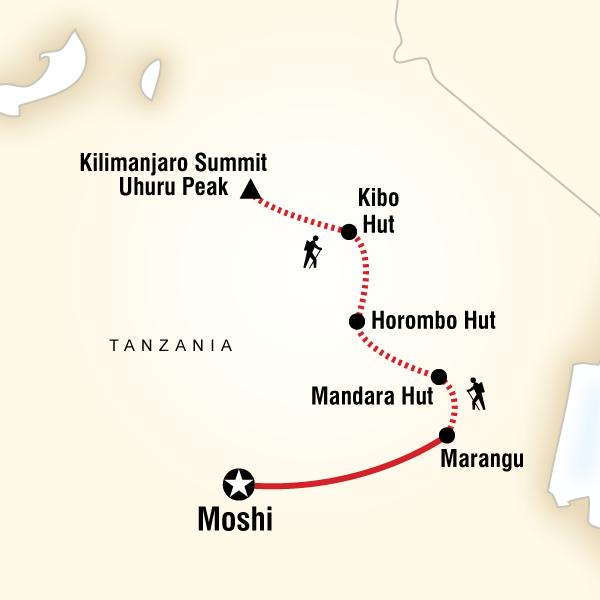 Mt Kilimanjaro Trek - Marangu Route - 7 DaysSleep in mountain huts on the trek, witness Africa from atop its highest mountain, marvel at sunrise on the summit.