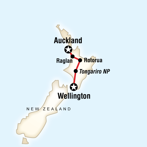New Zealand - Best of the North Island - 7 DaysSurf world-famous waves, experience a historic Maori village with a local guide, conquer New Zealand's top-rated one-day trek, dance the night away in Wellington.