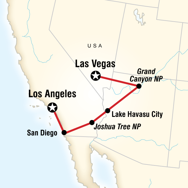 San Diego, Grand Canyon & Vegas - 7 DaysExperience a Grand Canyon sunset, stargaze in Los Angeles, roll the dice in Las Vegas, indulge in the attractions of San Diego, get your kicks on Route 66.