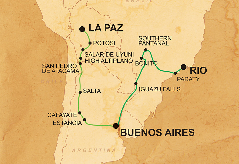 Overland South America - Accommodation: 55% Camping / 45% HotelsTransport: Overland expedition vehicle, 4x4, Public bus, Boat, Canoe