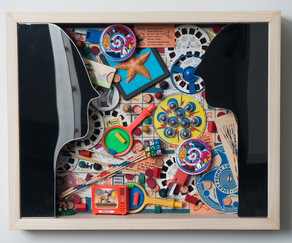 You & Me: Playing Games - Mixed Media16″ x 20″ x 4″ 2015SOLDExhibited at:Gallery 701 at the Long Center, January – October, 2016 (Austin, Texas)We are all familiar with the games we play with people, especially the people that you are attracted to in a deeper way.We give the person attention, then we pull away when we get too close, always testing each other, and finding that ebb and flow with a certain someone. It's human nature to play around with these emotions. It certainly keeps life interesting.