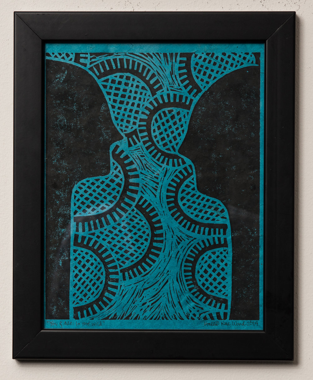 """You & Me: In The Wild - Linocut – 13″ x 10″ (framed)2014                                           SOLDExhibited at:Gallery 701 at the Long Center, January – October, 2016 (Austin, Texas)The """"You & Me: In the Wild"""" series represents the primitive aspects of relationships."""