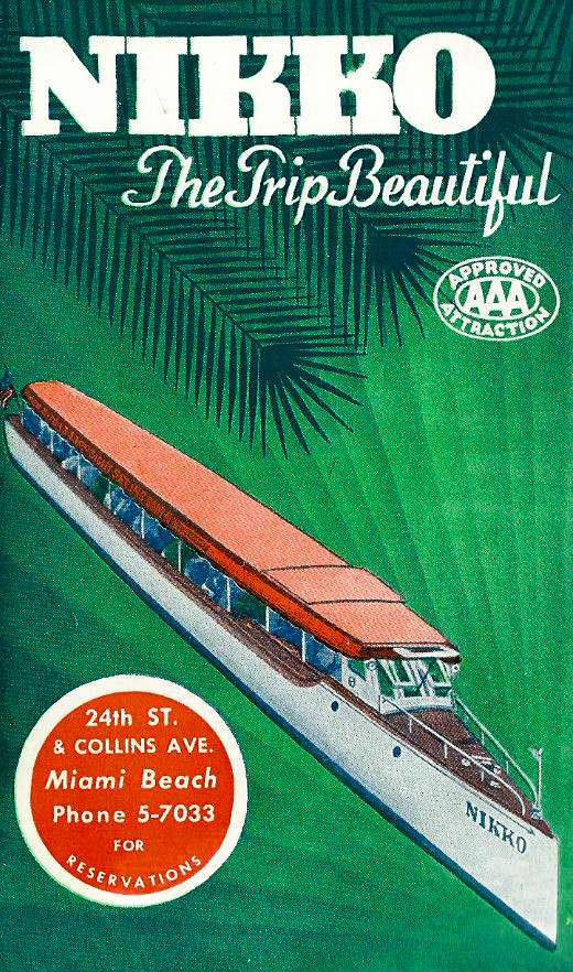 The Nikko was a sightseeing tour boat that operated in Miami during the 1940s and 1950s.   Image in care of   miamiheritage.org