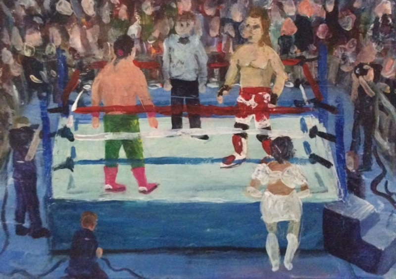 Craig Harper -  Shawn Michaels vs El Matador   - Painting by Scottish artist Craig Harper of a WWF wrestling match.