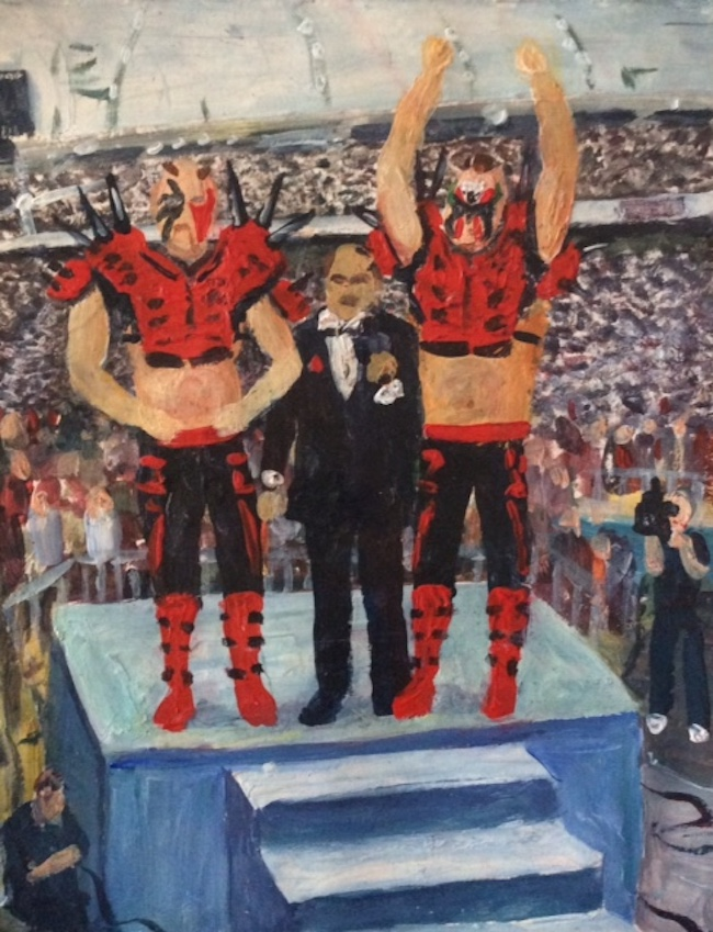 Mean Gene and The Road Warriors - Painting by Scottish artist Craig McRobert Harper of a WWF interview.
