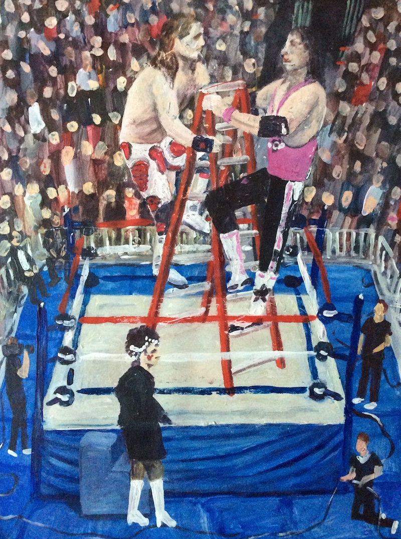 """The Ladder Match  - Painting by Scottish artist Craig Harper of a Ladder Match between Shawn Michaels and Bret """"The Hitman"""" Hart."""