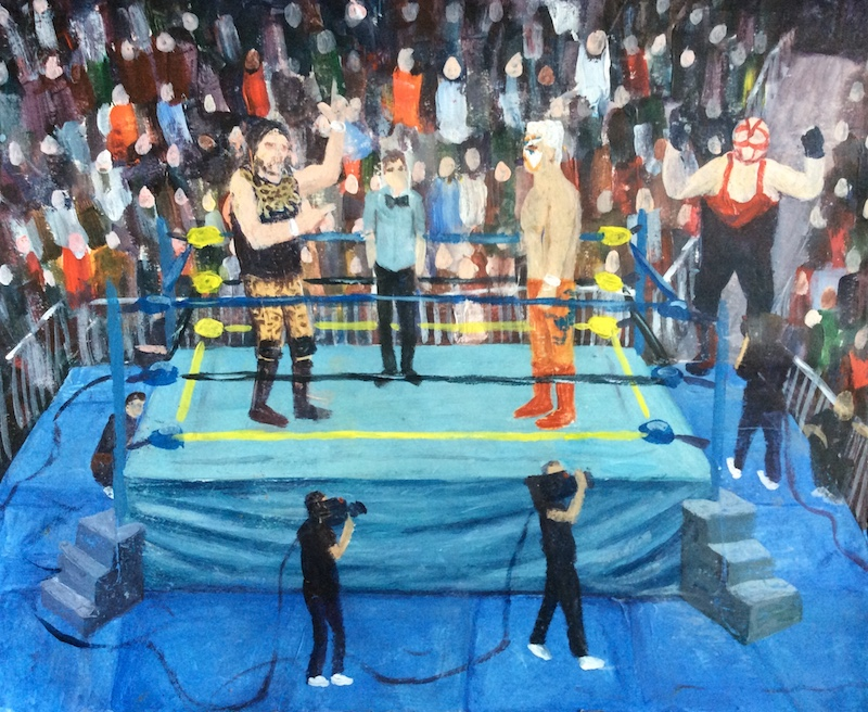 Craig Harper -  Cactus Jack, Sting and Vader  - Painting by Scottish artist Craig Harper of a an early 90s WCW match.