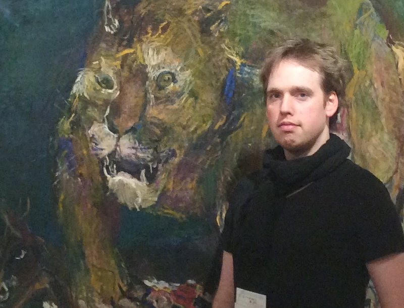 "Pictured with Oskar Kokoschka's  ""Tigerlöwe"""