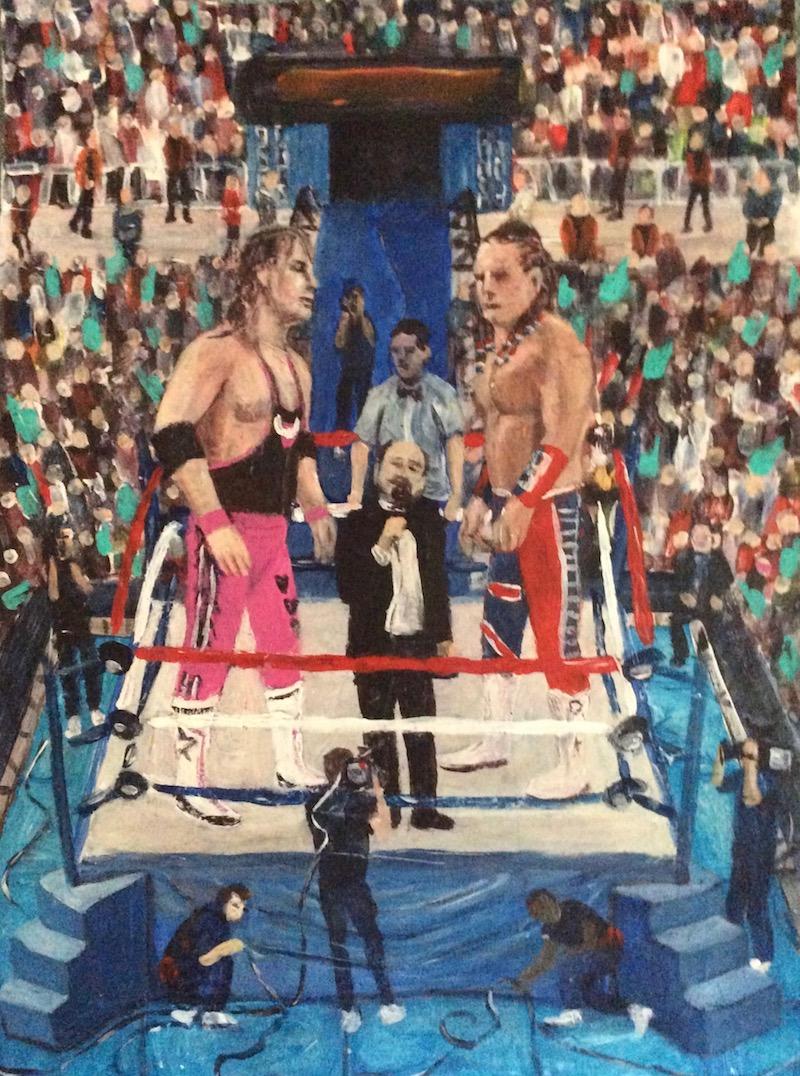 "Bret ""The Hitman"" Hart and The British Bulldog - Painting by Scottish artist Craig Harper of the Intercontinental Championship main event of Summerslam 1992 form Wembley Stadium in London, England."