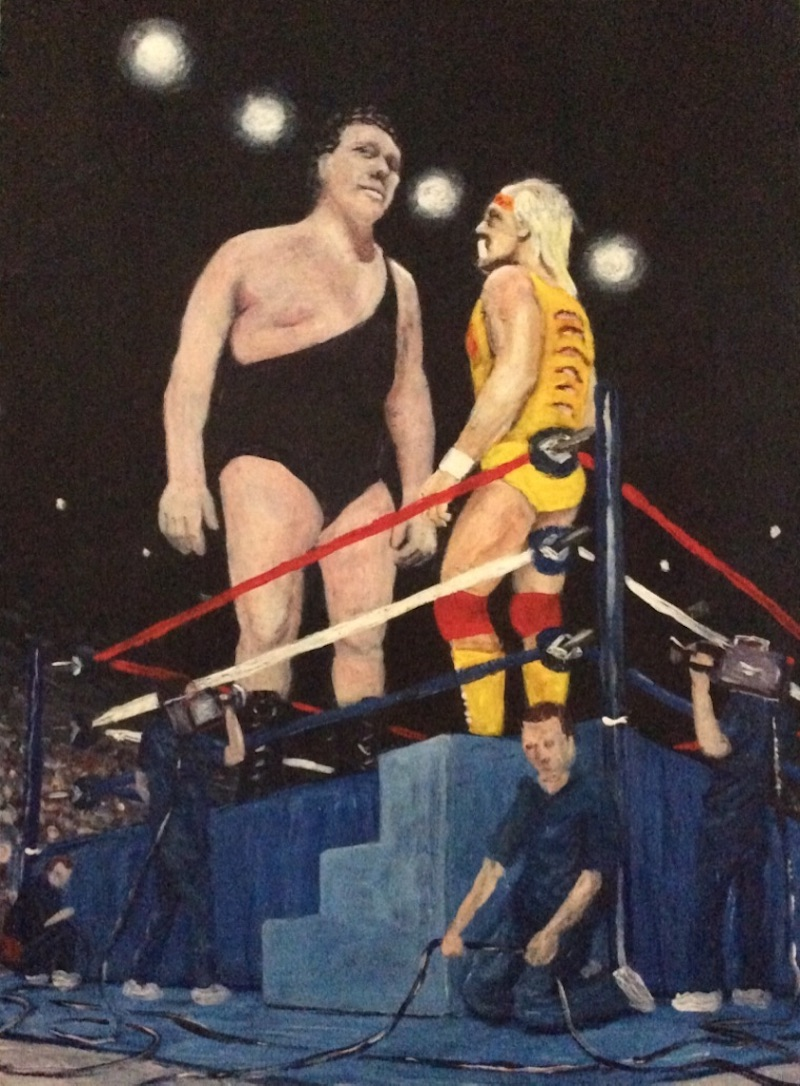 The Golden Era  - Painting by Scottish artist Craig Harper of Andre The Giant and Hulk Hogan in a WWF ring.