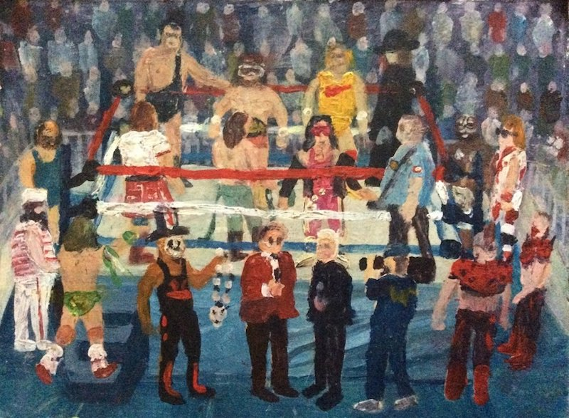 Slam Jam II  - Painting by Scottish artist Craig Harper of the WWF Superstars of the early 90s.