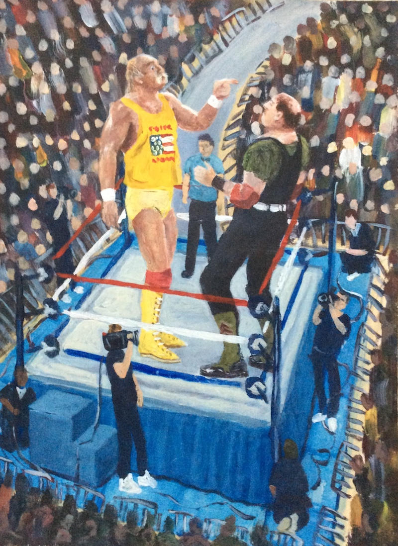 Hulk Hogan vs Sgt Slaughter  - Painting by Scottish artist Craig Harper of Hulk Hogan and Sgt Slaughter from the WWF.