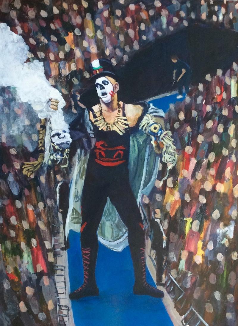 Papa Shango  - Painting by Scottish artist Craig Harper of a WWF wrestler Papa Shango.